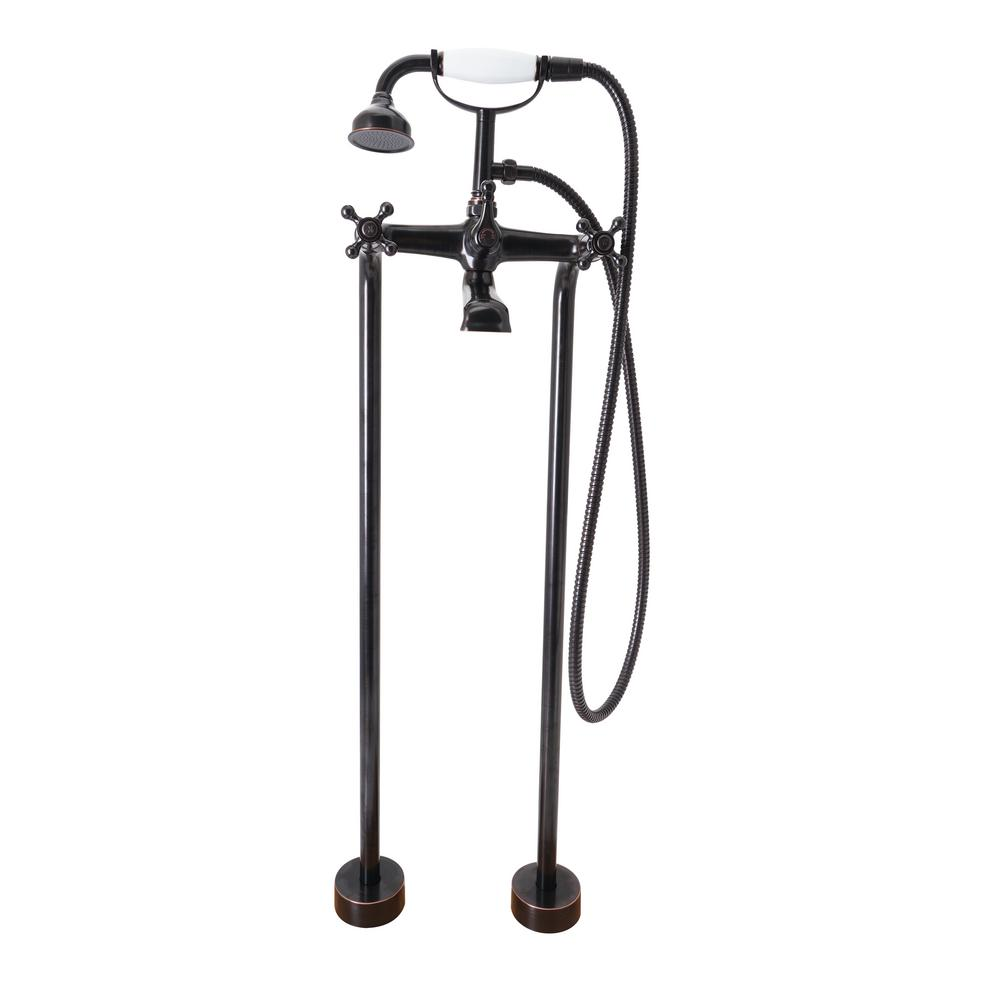 Dyconn Kingsford 2 Handle Claw Foot Tub Faucet With Hand Shower In Oil Rubbed Bronze