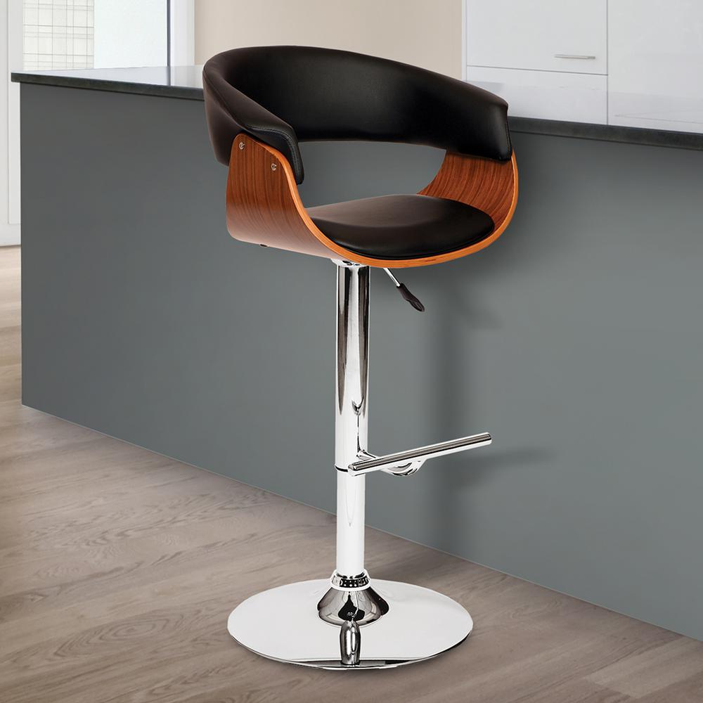 Armen Living Paris 36 44 In. Black Faux Leather And Chrome Finish  Adjustable Swivel