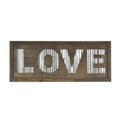 Love Rustic Brown Wooden Sign