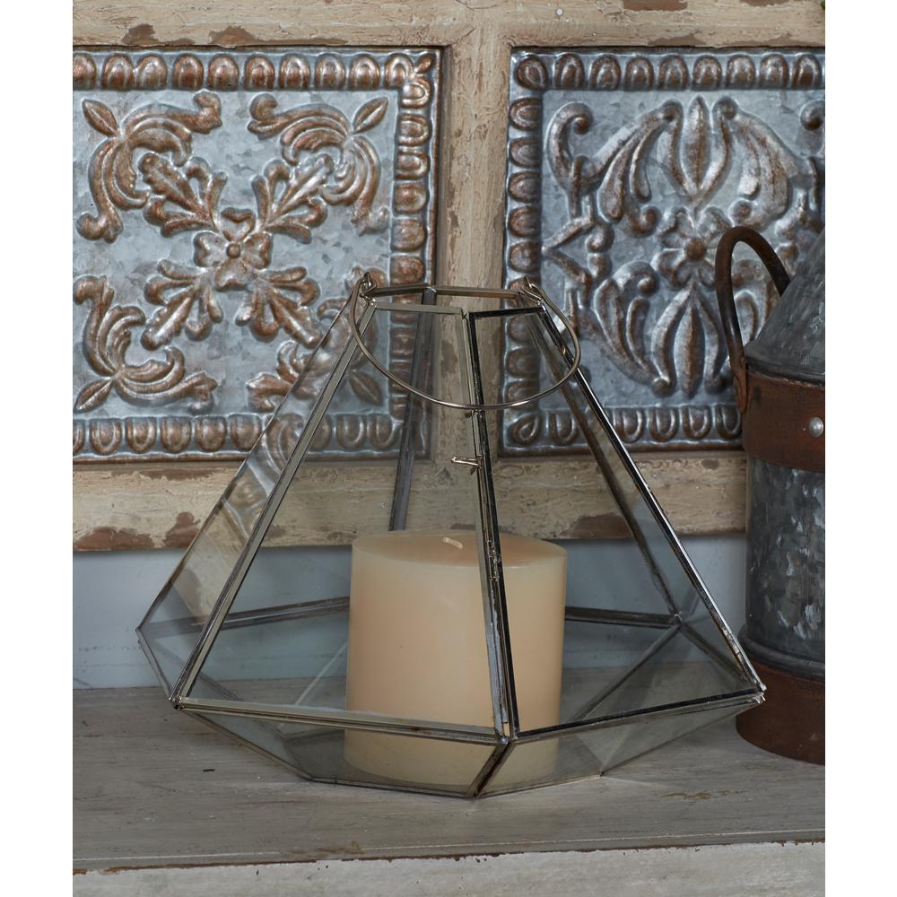 Modern Metallic Silver Hexagonal Candle Lantern
