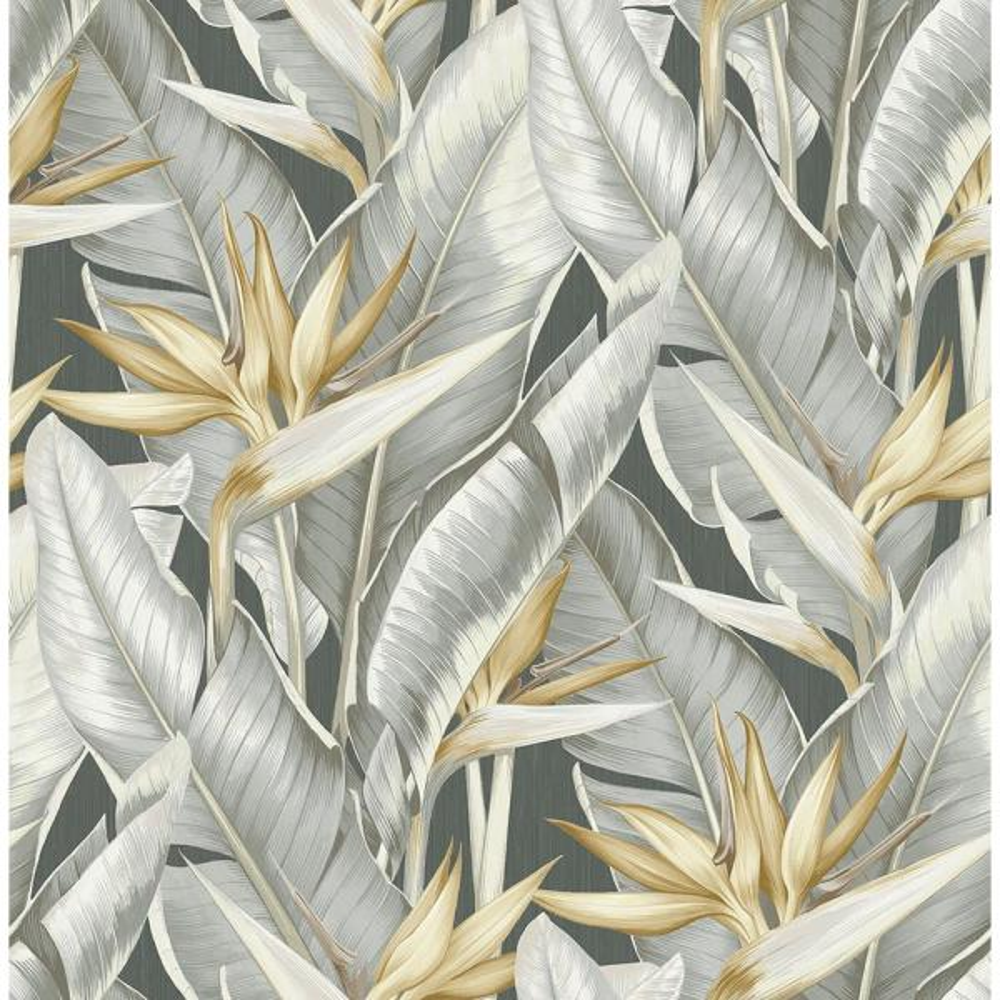 Kenneth James Arcadia Grey Banana Leaf Wallpaper Sample PS40200SAM