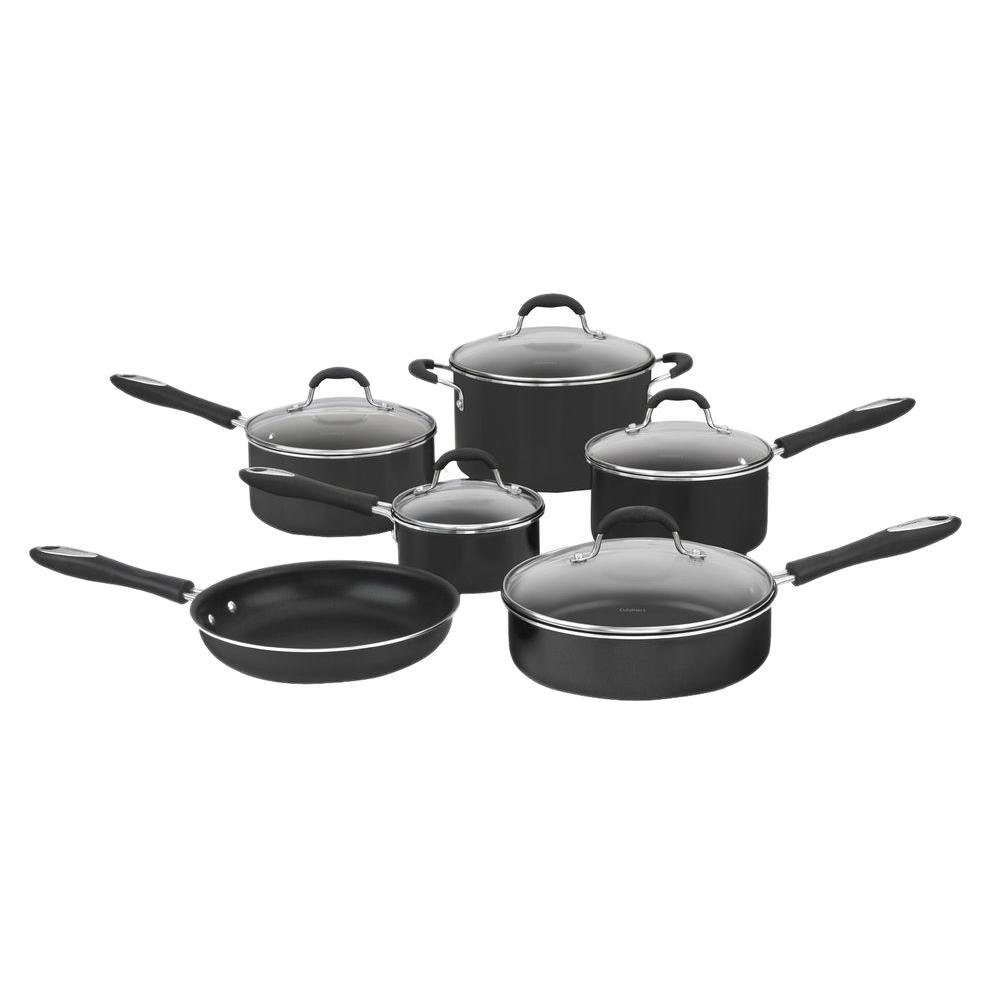 Advantage 11-Piece Black Cookware Set with Lids