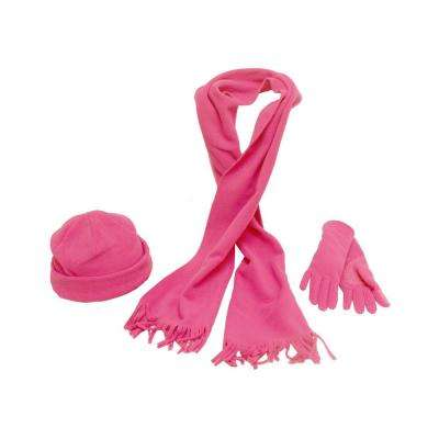 Girl Youth Size Midwest Gloves /& Gear 3-Piece Fleece Pink Hat Scarf Set Gloves