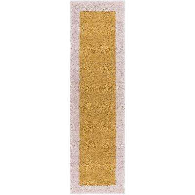 Madison Shag Cozumel Gold 2 ft. x 7 ft. Modern Solid Color Border Chic Runner Rug