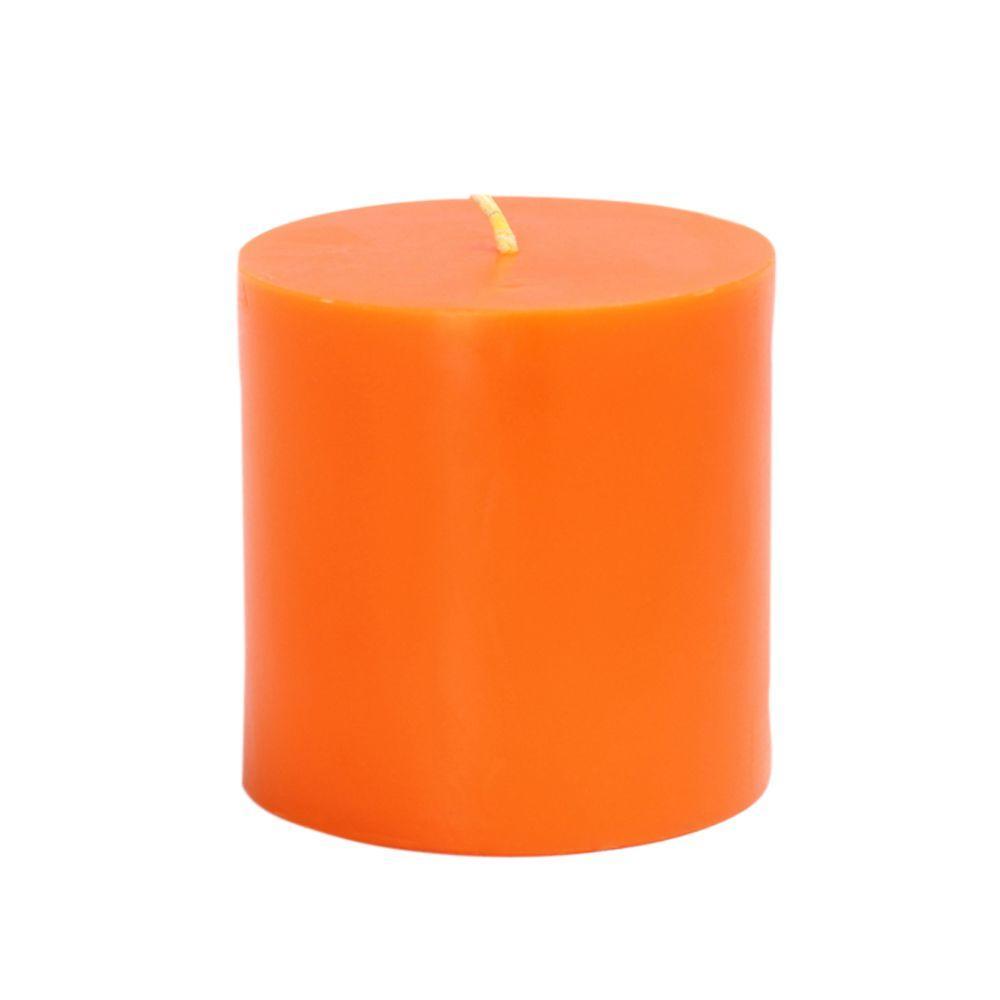 Zest Candle 3 in. x 3 in. Orange Pillar Candles Bulk (12-Case)