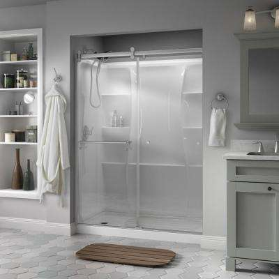 Portman 60 in. x 71 in. Semi-Frameless Contemporary Sliding Shower Door in Nickel with Clear Glass