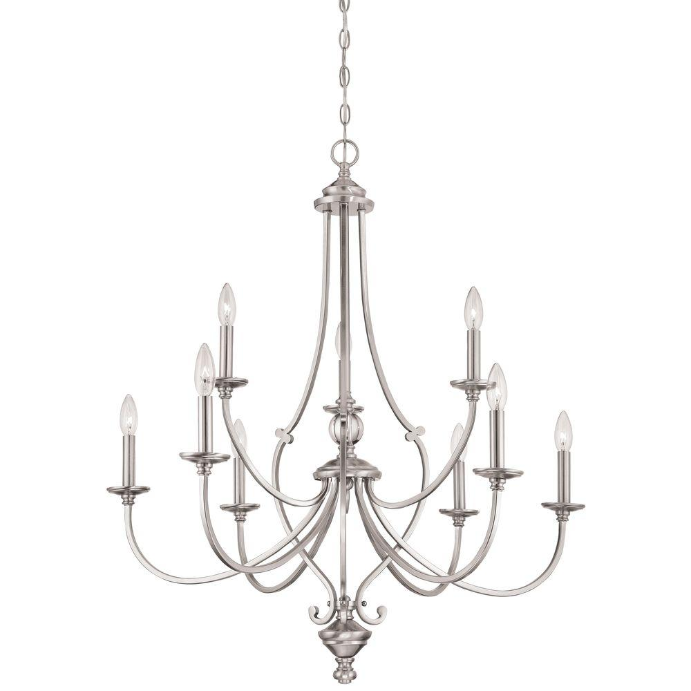 Minka Lavery Savannah Row 9 Light Brushed Nickel Chandelier