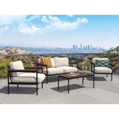 4-Piece Outdoor Black Steel with Wood Conversation Set with Beige Cushions