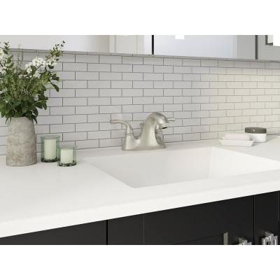 Forte 4 in. Centerset 2-Handle Low-Arc Water-Saving Faucet in Vibrant Brushed Nickel with Sculpted Lever Handles