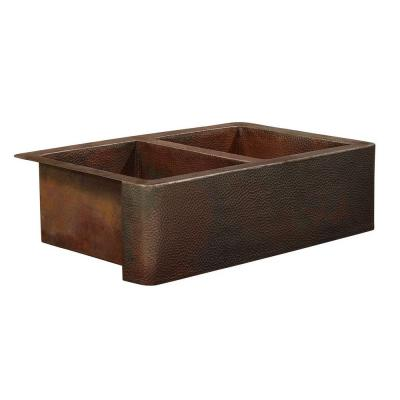 Bernini Farmhouse Apron Front Handmade Pure Solid Copper 25 in. Double Bowl Kitchen Sink in Hammered Aged Copper