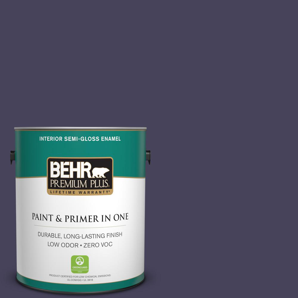 1-gal. #S-H-640 Purple Blanket Zero VOC Semi-Gloss Enamel Interior Paint