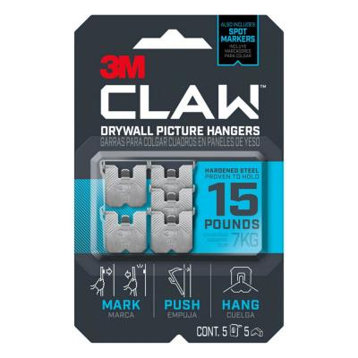 CLAW 15 lbs. Drywall Picture Hanger with Temporary Spot Marker (Pack of 5-Hangers and 5-Markers)