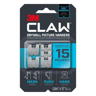 CLAW 15 lbs. Drywall Picture Hanger with Temporary Spot Marker (Pack of 5 Hangers and 5 Markers)