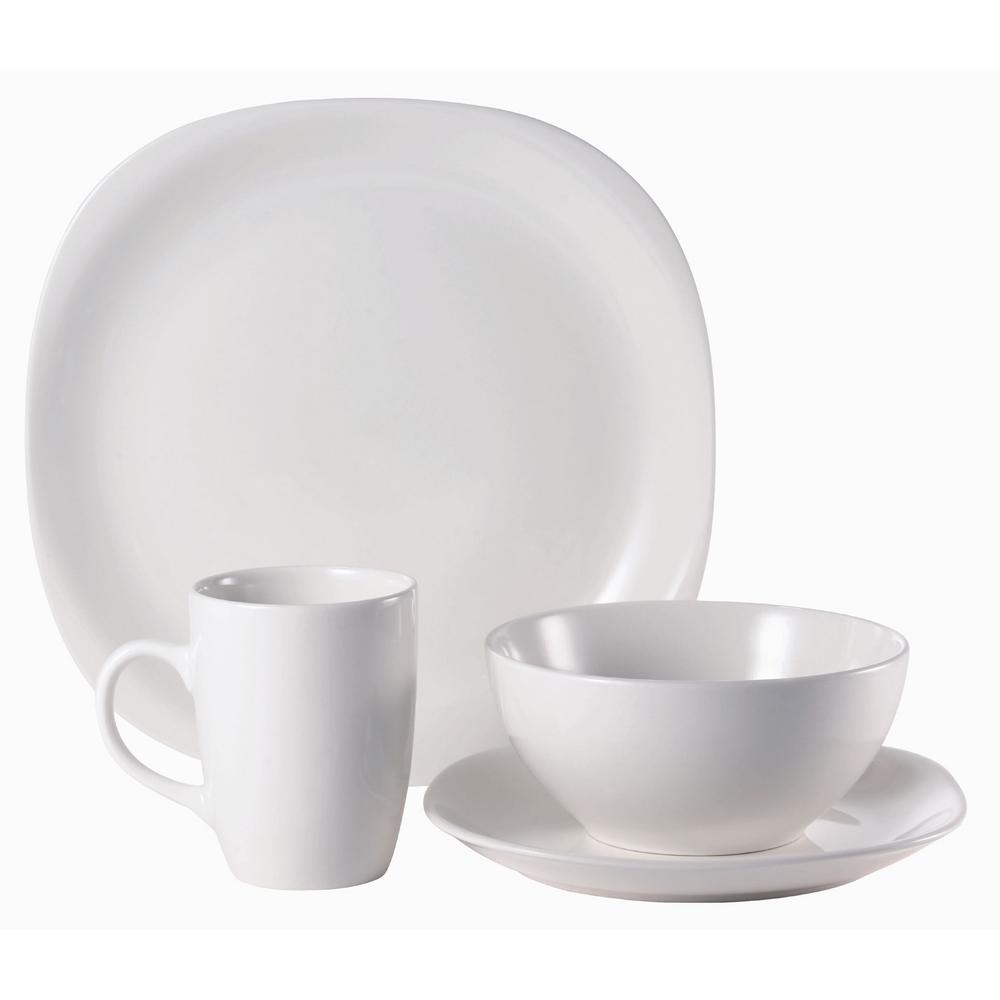 Quadro 16-Piece Casual Off white Ceramic Dinnerware Set (Service for 4)
