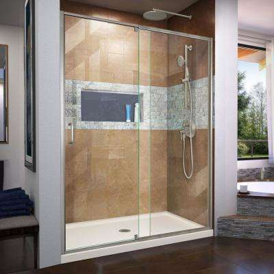 Flex 60 in. x 72 in. Semi-Frameless Pivot Shower Door in Brushed Nickel Finish with 60 in. x 30 in. Base in Biscuit