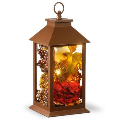 15 in. Autumn Lantern Decor with LED Lights