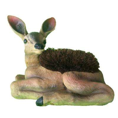 14 in. Lying Deer Boot Brush with Replaceable Brush Home and Garden Fawn Statue