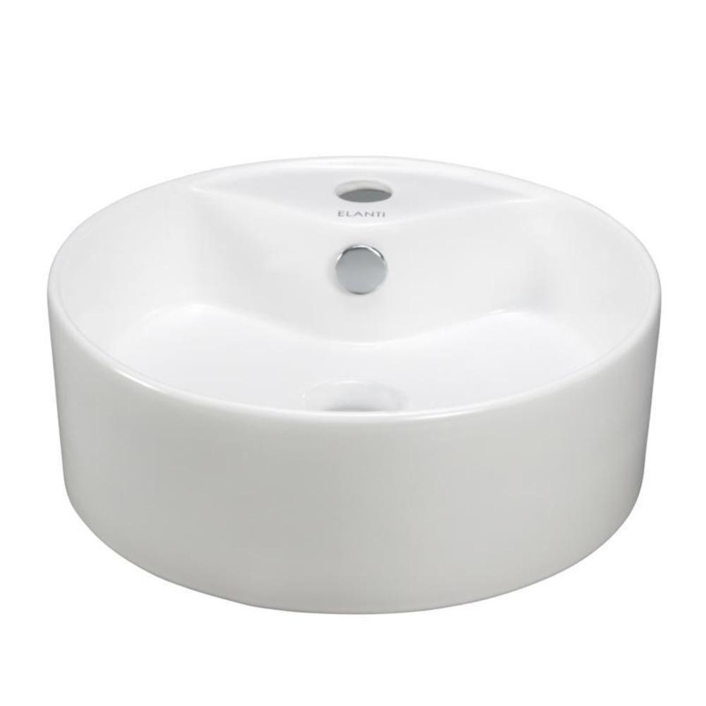Elanti Vessel Above-Counter Round Bowl Bathroom Sink in White