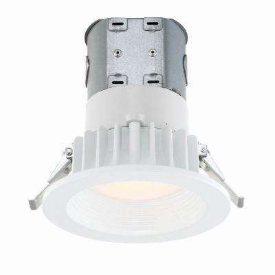 Easy Up with Direct Wire J-Box 4 in. White Integrated LED Recessed Kit