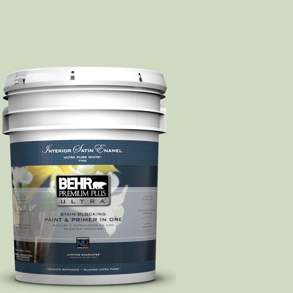 BEHR Premium Plus Ultra 5-gal. #M380-2 Glade Green Satin Enamel Interior Paint
