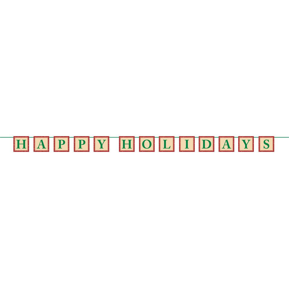 Amscan 4 in. x 6.5 ft. Christmas Happy Holidays Paper Glitter Letter Banner (2-Pack)