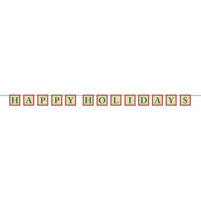 4 in. x 6.5 ft. Christmas Happy Holidays Paper Glitter Letter Banner (2-Pack)
