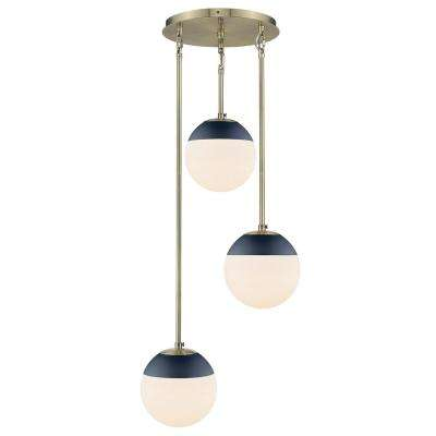 Dixon 3-Light Pendant in Aged Brass with Opal Glass and Navy Cap