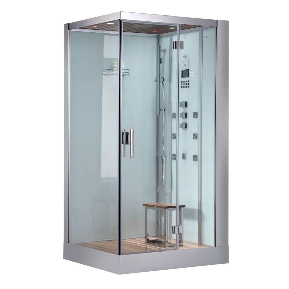 Ariel 47 in. x 35.4 in. x 89 in. Steam Shower Enclosure Kit in White ...