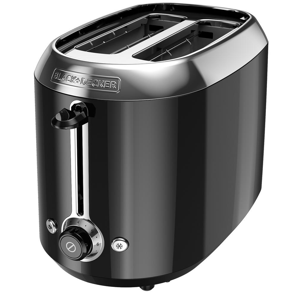 2-Slice Black Toaster The BLACK+DECKER 2-Slice Toaster features extra-wide, self-centering slots to fit all types of breads, waffles, and bagels. One-touch buttons simplify operation, and the shade selection knob gives you control to make toast your way. Color: Black.