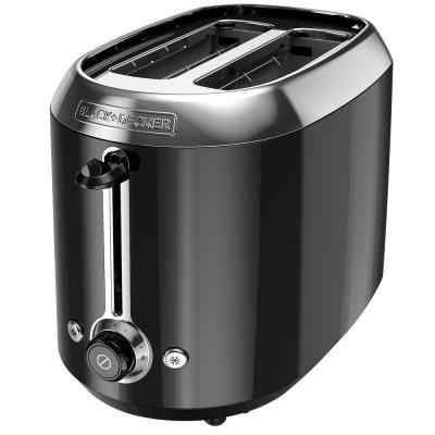 2-Slice Black Wide Slot Toaster with Temperature Control