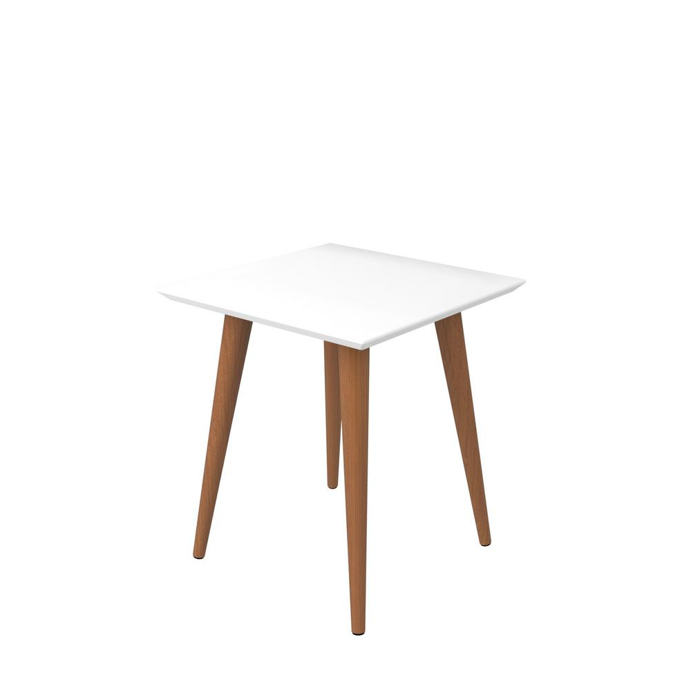 Manhattan Comfort Utopia 19.68 in. H White Gloss and Maple Cream Square End Table with Splayed Wooden Legs