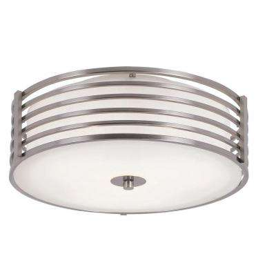 Cabernet Collection 3-Light Brushed Nickel Semi-Flush Mount Light with White Frosted Shade