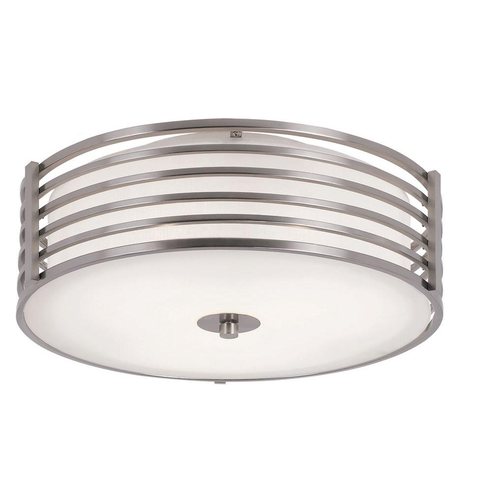 Bel Air Lighting Cabernet Collection 3-Light Brushed Nickel Semi-Flush Mount Light with White Frosted Shade