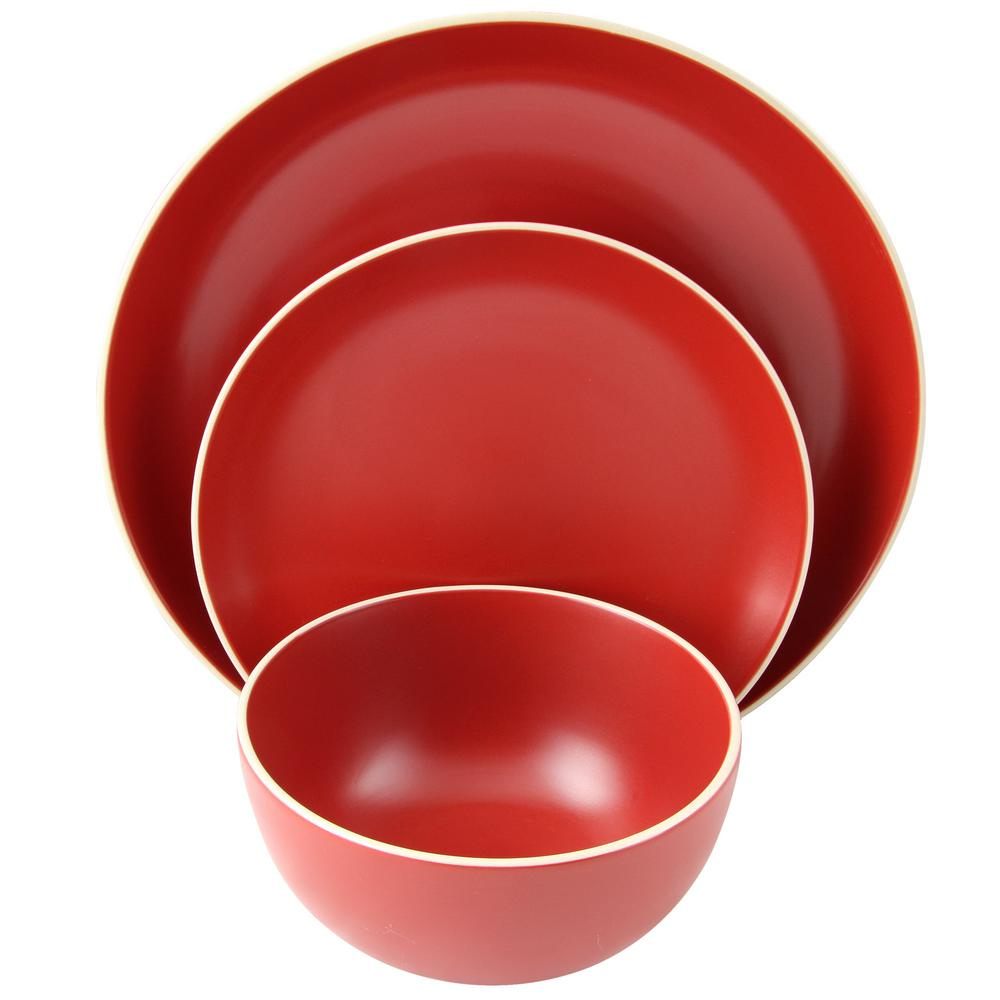 GIBSON HOME Rockaway 12 Piece Matte Red Dinnerware Set
