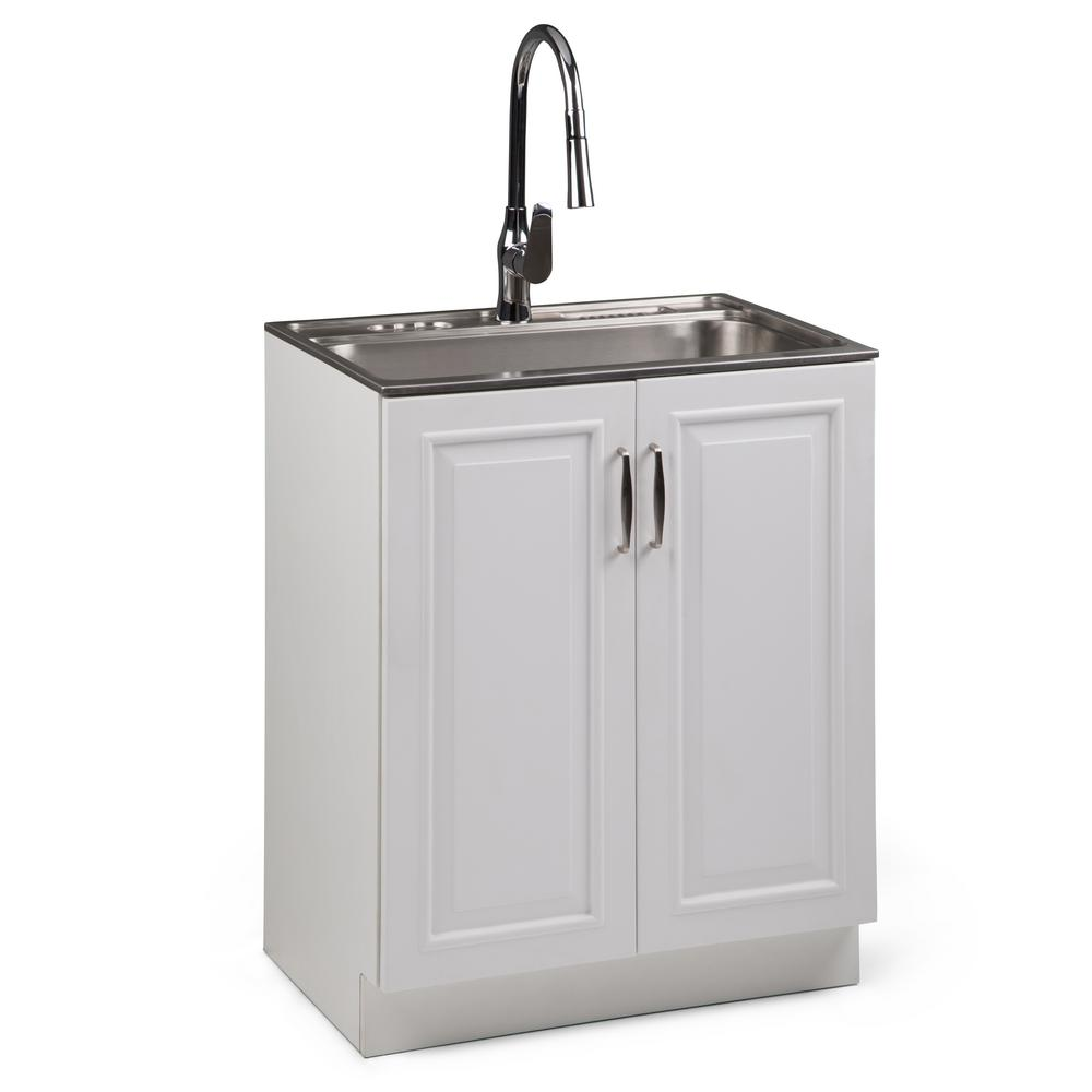 Simpli Home Darwin 28 in. W x 19 in. D in. x 35 in. H Laundry Cabinet with Pull-Out Faucet and Stainless Steel Laundry/Utility Sink
