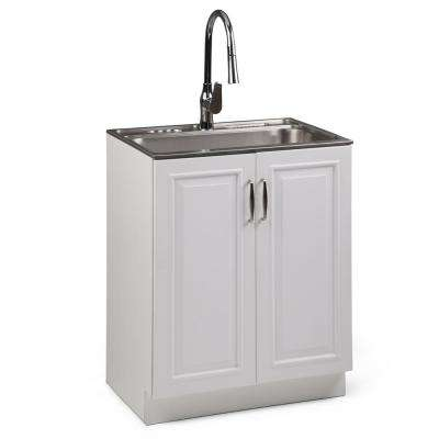 Darwin 28 in. W x 19 in. D in. x 35 in. H Laundry Cabinet with Pull-Out Faucet and Stainless Steel Laundry/Utility Sink