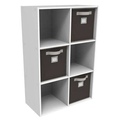 36 in. x 24. in. White Stackable 6-Cube Organizer with 3 Brown Bins