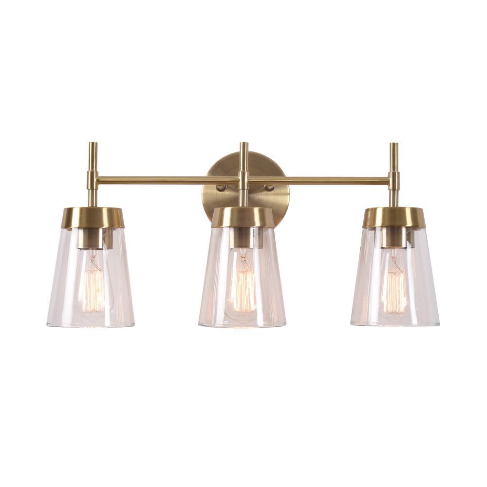 3-Light Polished Brass Vanity Light Project Source