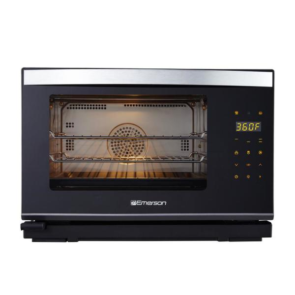 Emerson Deluxe 1600 W 6-Slice Black Stainless Steel Convection Toaster Oven