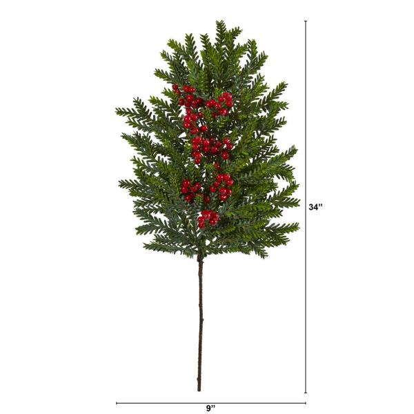 Artificial Poinsettia Berries and Pine Bushes Set of 3