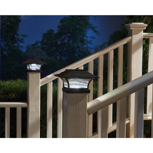 Hampton Bay Solar 4 In X 4 In Bronze Outdoor Integrated Led Deck Post Light With 6 In X 6 In Adapter 2 Pack 47577 The Home Depot