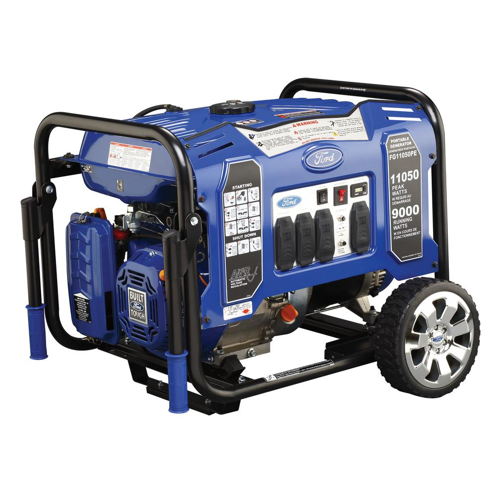 11,050/9,000-Watt Gasoline Powered Electric/Recoil Start Portable Generator with