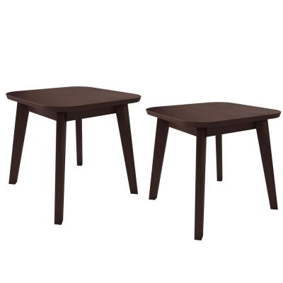 Scarlett in Espresso Brown Modern Wood End Tables (Set of 2)