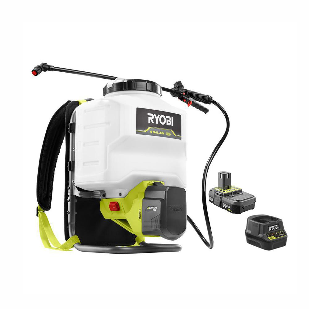RYOBI RYOBI ONE+ 18-Volt Lithium-Ion Cordless 4 Gal. Backpack Chemical Sprayer - 2.0Ah Battery and Charger Included