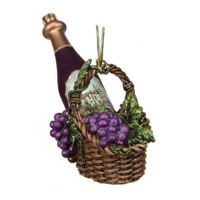 4.5 in. Tuscan Winery Purple Glass Wine Bottle in Basket Christmas Ornament