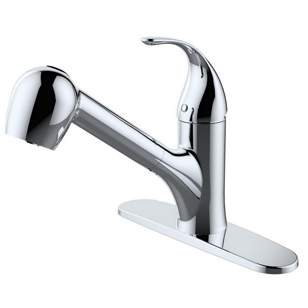 Single-Handle 2-function Spray Head Kitchen Faucet in Chrome Finish