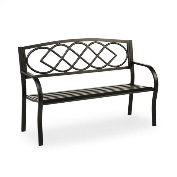 Evergreen 50 In Celtic Knot Metal Outdoor Garden Bench 8mb121 The Home Depot