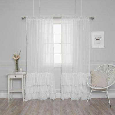 84 in. L White Faux Linen Bottom Ruffle Curtain (2-Pack)