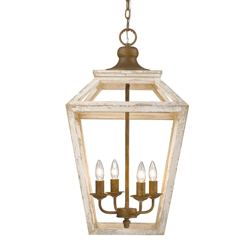 Golden Lighting Haiden Collection 4 Light Burnished Chestnut Pendant