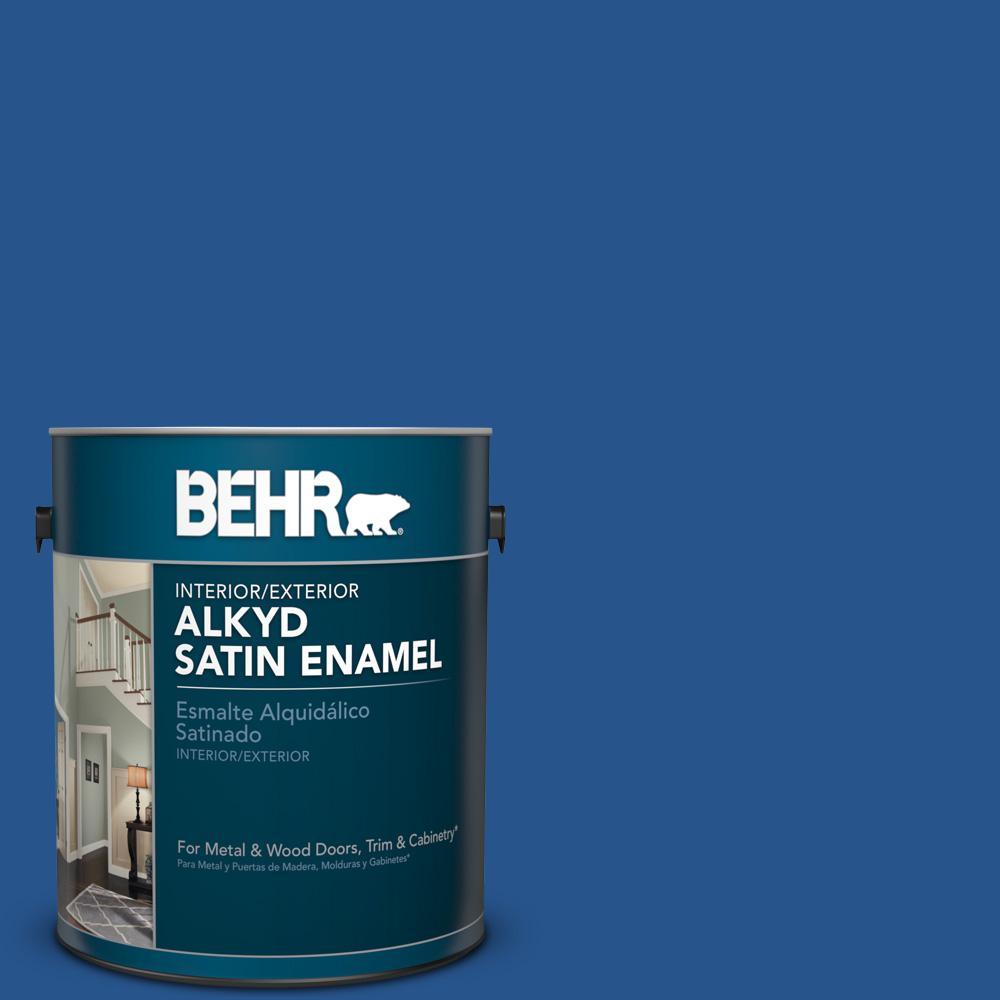 1 gal. #PPU15-3 Dark Cobalt Blue Satin Enamel Alkyd Interior/Exterior Paint